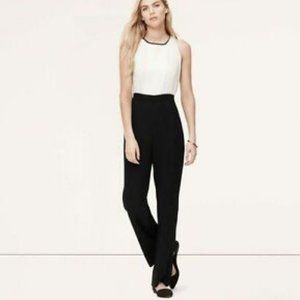 LOFT Black & White Tuxedo Jumpsuit (size 6)
